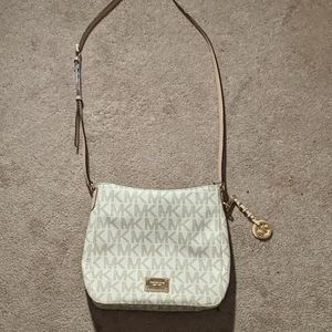 Micheal Kors Monogrammed White Crossbody Bag
